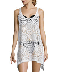 Porto Cruz Portocruz Sleeveless Crochet Shark Bite Dress Cover Up