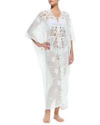 Miguelina Rachel Long Crochet Panel Caftan White