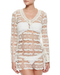 OndadeMar V Neck Sheer Crochet Coverup