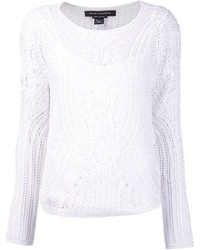 White Crochet Crew-neck Sweater