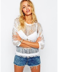 Asos Collection Sweater In Crochet Stitch
