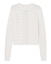 See by Chloe Crochet And Pointelle Knit Sweater