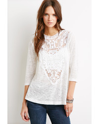 Forever 21 Crochet Paneled Sweater