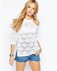Asos Crochet Sweater With Cold Shoulder