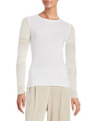 Elie Tahari Theresa Crochet Accented Sweater