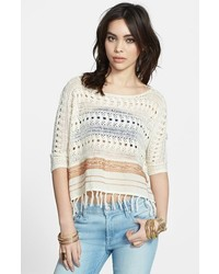 Free People Fringed Crochet Sweater Cream Combo Small
