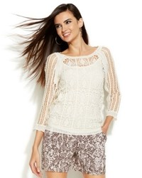 Inc international concepts three quarter sleeve crochet sweater medium 756069