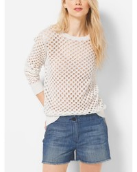 Michael Kors Michl Kors Crochet Cotton Crewneck Sweater