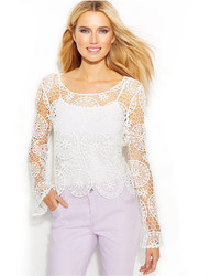 INC International Concepts Petite Long Sleeve Crochet Top