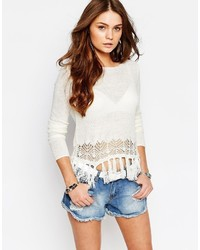 Only Sweater With Fringed Hem