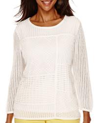 Alfred Dunner Weekend Getaway 34 Sleeve Crochet Sweater