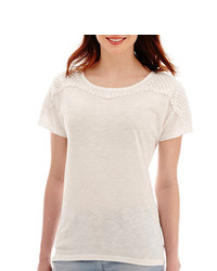 jcpenney Ana Ana Crochet Shoulder Dolman T Shirt