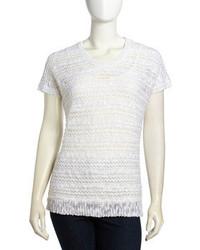 Neiman Marcus Dolman Sleeve Crochet Knit Pullover White