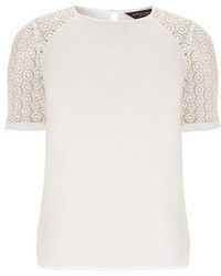 Dorothy perkins white crochet sleeve tee medium 64278
