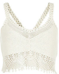 White Crochet Cropped Top