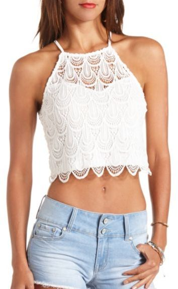 ... White Crochet Cropped Tops Charlotte Russe Scalloped Crochet Halter  Crop Top