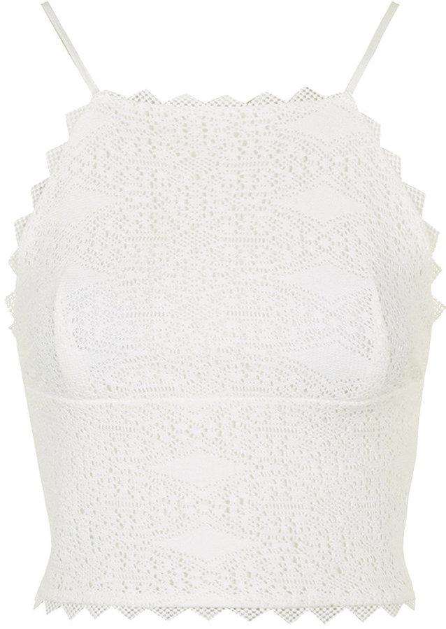 3054c548d Topshop Crochet High Neck Top, $40 | Topshop | Lookastic.com