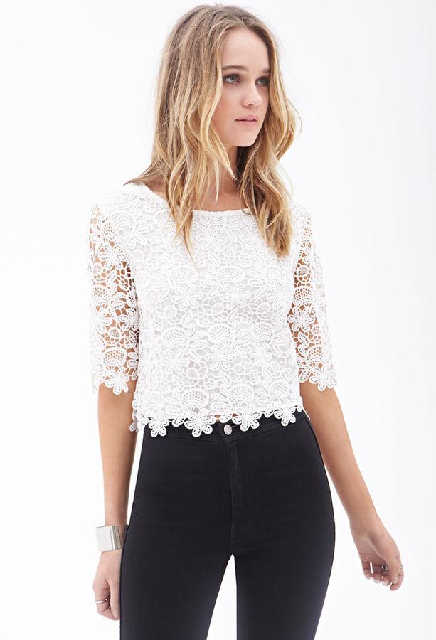 Forever 21 Floral Crochet Crop Top 22 Forever 21 Lookasticcom