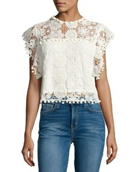 Tularosa Kennedy Crochet Crop Top White