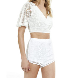 Express Tie Back Crochet Cropped V Neck Top
