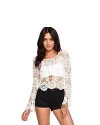 Kendall kylie sweater long sleeve crochet top medium 95820
