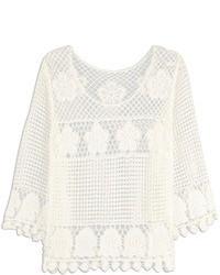 Choies Long Sleeve Lattice Flower Shirt In Crochet