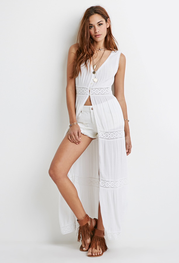 White gauze maxi dress