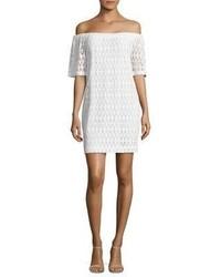 White Crochet Off Shoulder Dress