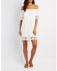 Charlotte Russe Crochet Trim Off The Shoulder Dress