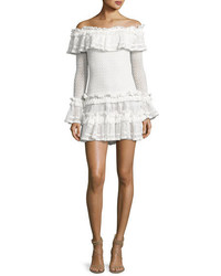 JONATHAN SIMKHAI Crocheted Ruffle Off The Shoulder Mini Dress White