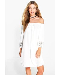 Boohoo Eleanor Off Shoulder Crochet Sleeve Dress
