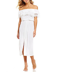 LaBlanca La Blanca Costa Brava Off The Shoulder Crochet Trim Midi Dress Cover Up