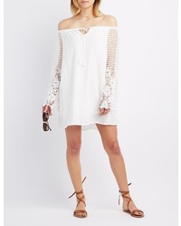 Charlotte Russe Off The Shoulder Crochet Sleeve Dress
