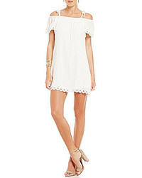 I.N. San Francisco Tie Shoulders Crochet Trim Shift Dress