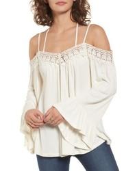 Crochet trim off the shoulder top medium 4990402