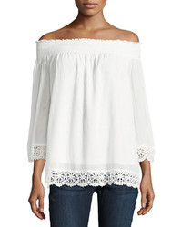 Off the shoulder crochet trim top medium 3769462