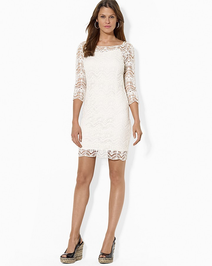 9895cc2a4ac1 ... Party Dresses Lauren Ralph Lauren Dress Crochet Three Quarter Sleeve ...