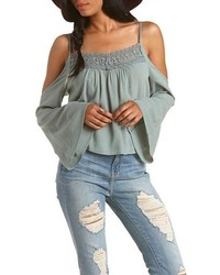 8df2da03541a6 ... Charlotte Russe Crochet Trim Cold Shoulder Top ...