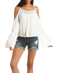 Charlotte Russe Crochet Trim Cold Shoulder Top