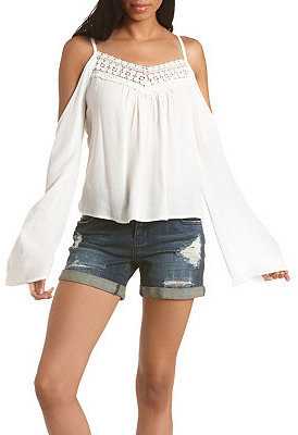 94a720f779251 ... Blouses Charlotte Russe Crochet Trim Cold Shoulder Top ...
