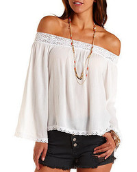Charlotte Russe Crochet Trim Off The Shoulder Peasant Top
