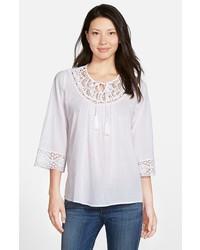 Crochet trim peasant blouse medium 289041
