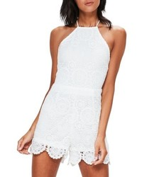 Missguidded crochet lace halter romper medium 4951495