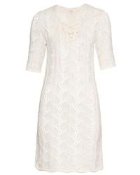 Ath pointelle crochet half length sleeve dress medium 449286