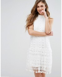 0de2aafe99997 Missguided Drop Waist Crochet Lace Shift Dress