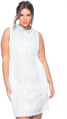 ELOQUII Plus Size Studio Collared Crochet Dress, $110 | ELOQUII ...