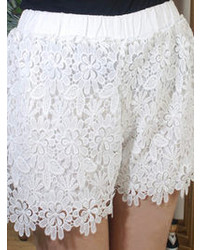 Choies White High Waist Crocheted Lace Shorts