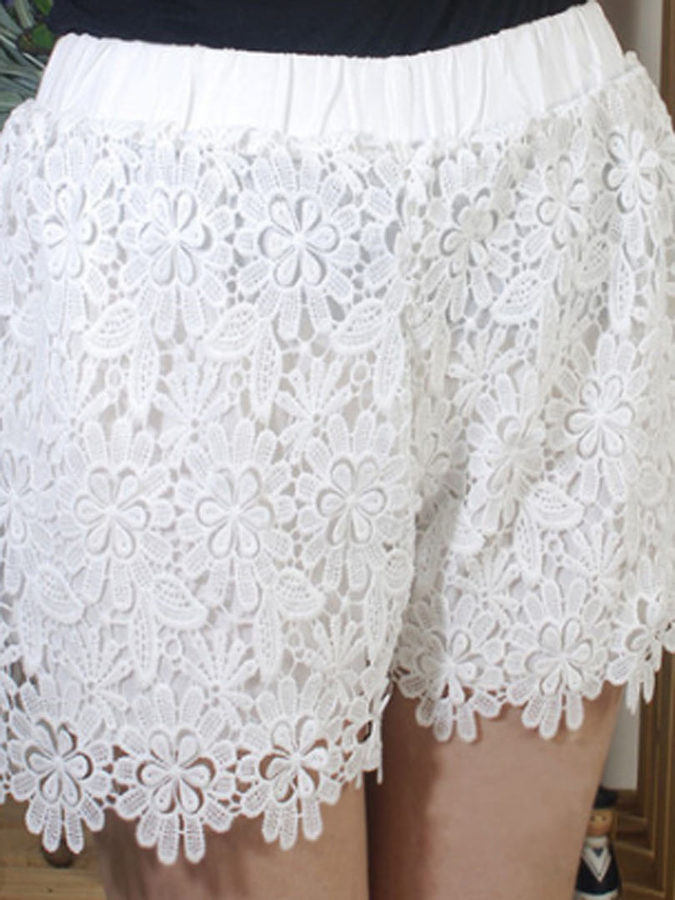 Choies White High Waist Crocheted Lace Shorts 17 Choies