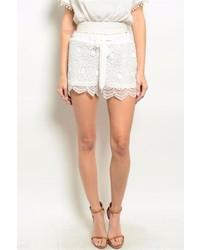 Blu Pepper White Crochet Shorts