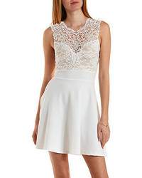 Charlotte russe embroidered lace yoke skater dress medium 241704